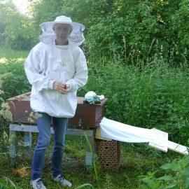 Der Imker hat alles vorbereitet zum Einlaufen der Bienen in ihr neues Zuhause