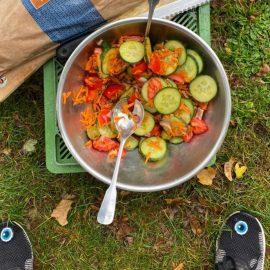 Es gab leckeren Salat mit geretteten Gurken, Tomaten, Möhren und Zwiebeln #foodsharing