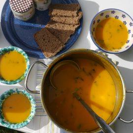 Leckere vegane Kürbissuppe mit frischem Brot und Kräutern aus dem Ess-Gärtle begeistert die TeilnehmerInnen des veganen Brunch